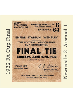 1932 FA Cup Final Ticket (Glass Coaster)