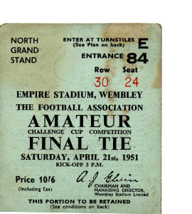 1951 FA Amateur Cup Final Pegasus v Bishop Auckland (Ticket)