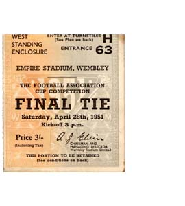 1951 FA Cup Final Newcastle United v Blackpool (Ticket)