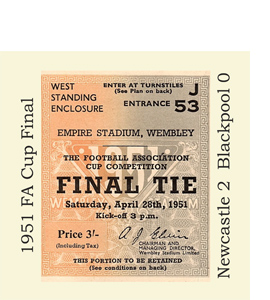 1951 FA Cup Final Ticket (Glass Coaster)