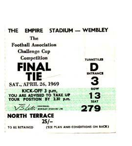 1969 FA Cup Final Manchester City v Leicester City (Ticket)