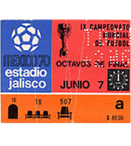 1970 World Cup England v Brazil (Ticket)