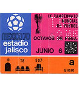 1970 World Cup Ticket Czechoslovakia. v Romania (Ticket)