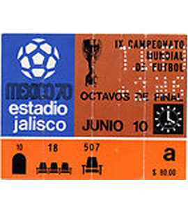 1970 World Cup Ticket Brazil v Romania (Ticket)