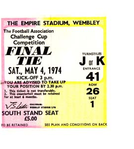 1974 FA Cup Final Newcastle United v Liverpool (Ticket)