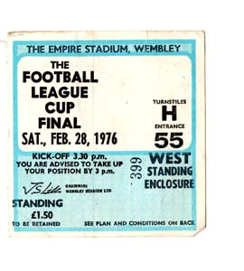 1976 League Cup Final Newcastle United v Man City (Ticket)