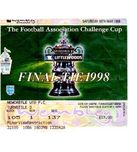 1998 FA Cup Final Newcastle United v Arsenal (Ticket)