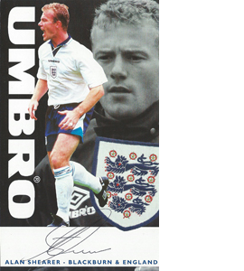 Alan Shearer England Sponsor Card (Signed)