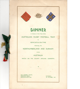 Australia RFC Tour Commemorative Menu 1947 (Signed)