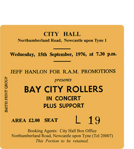 Bay City Rollers City Hall Ticket (Coaster)