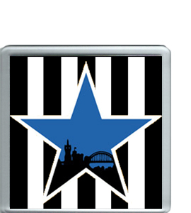 Blue Star Black & White Stripes (Coaster)