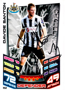 Davide Santon Newcastle United Match Attax Trade Card (Signed)