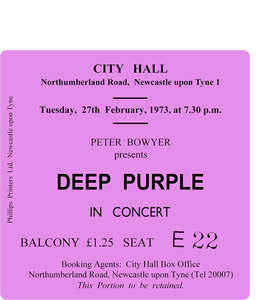 Deep Purple City Hall Ticket (Coaster)
