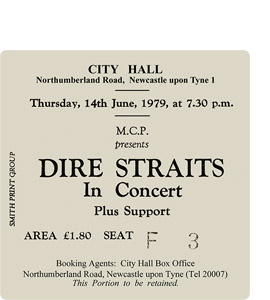 Dire Straits City Hall Ticket (Coaster)