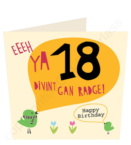 Eeeh Ya 18 Divint Gan Radge- Geordie Card