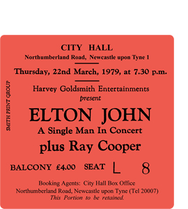 Elton John City Hall Ticket (Coaster)