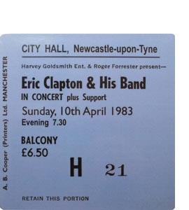 Eric Clapton & His Band City Hall Ticket (Coaster)
