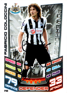 Fabrico Coloccini Newcastle United Match Attax Trade Card (Signe
