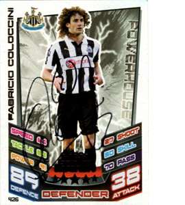 Fabrico Coloccini Newcastle United Match Attax Trade Card Signed