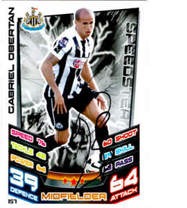 Gabriel Obertan Newcastle United Match Attax Trade Card (Signed)