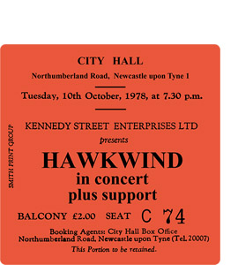 Hawkwind City Hall Ticket (Coaster)