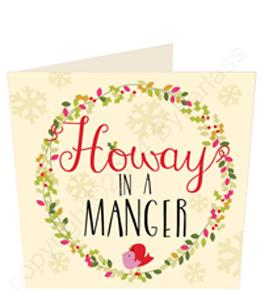 Howay In A Manger - Geordie Christmas (Greeting Card)