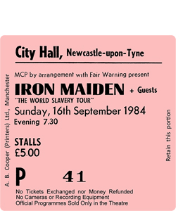 Iron Maiden City Hall Ticket (Coaster)