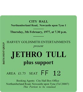 Jethro Tull City Hall Ticket (Coaster)