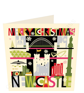 Large City Scape Newcastle & Gateshead Quayside (Greeting Card)