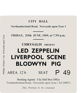 Led Zeppelin/Blodwyn Pig City Hall Ticket (Coaster)