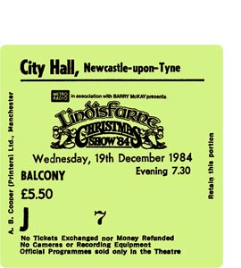 Lindisfarne Christmas Show City Hall Ticket (Coaster)
