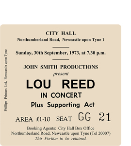 Lou Reed City Hall Ticket (Coaster)