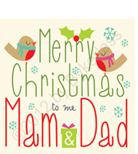Merry Christmas Mam & Dad - Large Size (Greeting Card)