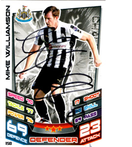 Mike Williamson Newcastle United Match Attax Trade Card (Signed)