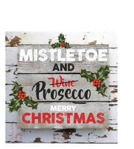 Mistletoe & Prosecco Merry Christmas (Greetings Card)