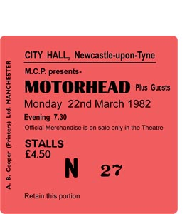 Motorhead City Hall Ticket (Coaster)