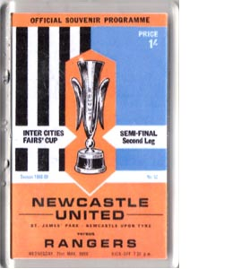 1969 Newcastle United v Rangers (Fridge Magnet)