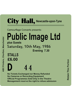 Public Image Ltd City Hall Ticket (Coaster)