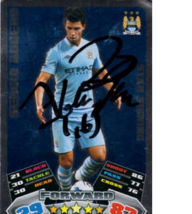 Sergio Aguero Manchester City Match Attax Trade Card (Signed)