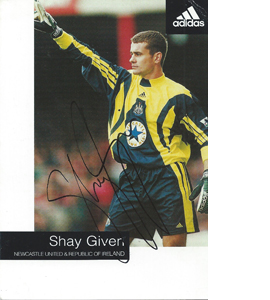 Shay Given Newcastle Sponsor Card (Signed)
