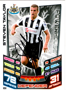 Steven Taylor Newcastle United Match Attax Trade Card (Signed)