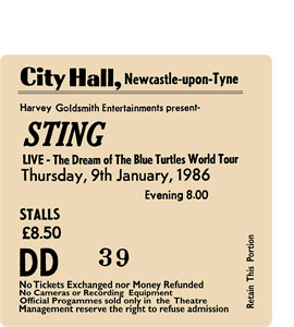 Sting City Hall Ticket (Coaster)