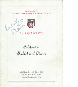 Sunderland 1973 FA Cup Final Menu (Signed)