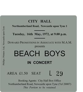 The Beach Boys City Hall Ticket (Coaster)