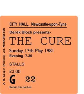 The Cure City Hall Ticket (Coaster)