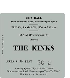 The Kinks City Hall Ticket (Coaster)