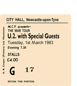 U.2. with Special Guests City Hall Ticket (Coaster)