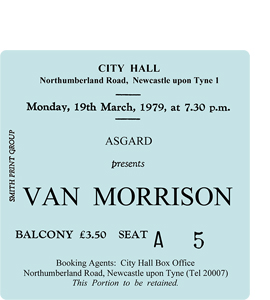 Van Morrison City Hall Ticket (Coaster)