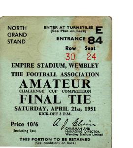 1951 FA Amateur Cup Final Pegasus v Bishop Auckland (Ticket)