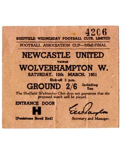1951 FA Cup Semi-Final Newcastle United v Wolves (Ticket)